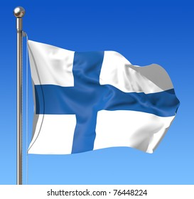Flag of Finland against blue sky.
