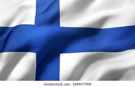 Flag of Finland blowing in the wind. Full page Finnish flying flag. 3D illustration.