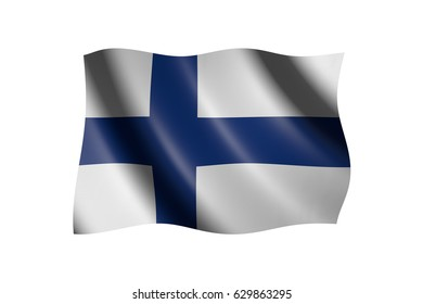 Flag of Finland isolated on white, 3d illustration