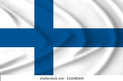 The flag of Finland waving from the wind, proudly fluttering in the wind