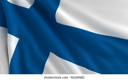 A flag of Finland in the wind
