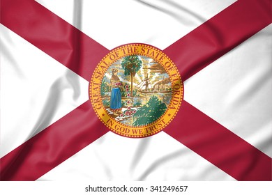 Flag of Florida state of United States of America on soft and smooth silk texture