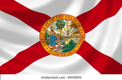 Flag of Florida state waving in the wind detail