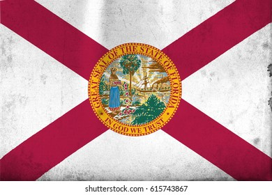 Flag of Florida, United States of America, with an old, vintage style