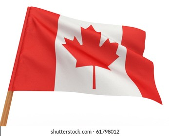 flag fluttering in the wind. Canada. 3d