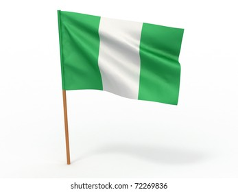 flag fluttering in the wind. Nigeria. 3d