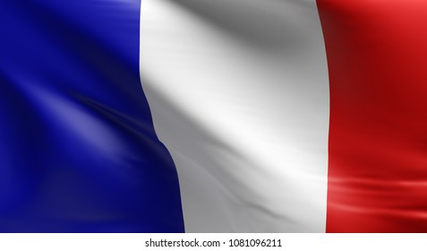 Flag of France using as background, 3d rendering