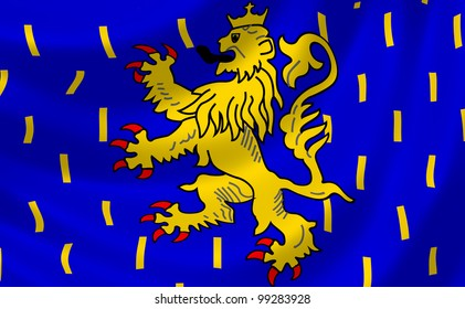 Flag of French Franche Comte region waving in the wind detail