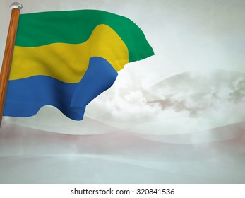 Flag of Gabon floating in the wind on abstract background