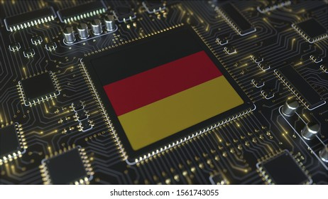 Flag of Germany on the operating chipset. German information technology or hardware development related conceptual 3D rendering