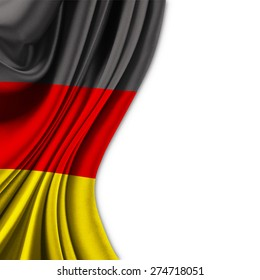 Flag of Germany  on silk curtain theater up white background