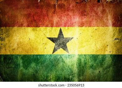 Flag of Ghana. Old vintage paper texture.