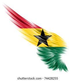 The flag of Ghana on wing and white background