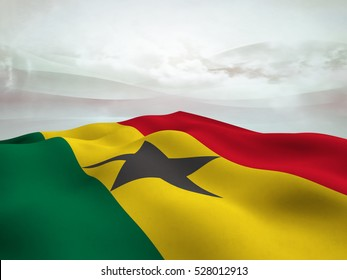 Flag of Ghana waving over an  abstract  sky with cloud - 3d render
