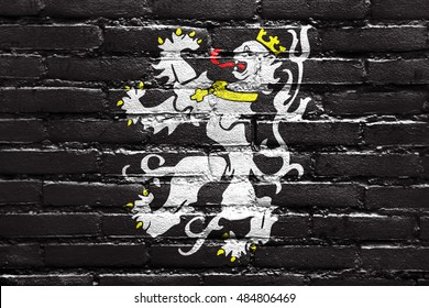 Flag of Ghent, Belgium, painted on brick wall