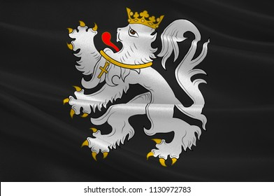 Flag of Ghent is a city and a municipality in the Flemish Region of Belgium. 3d illustration