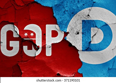 flag of GOP and Democrats painted on cracked wall