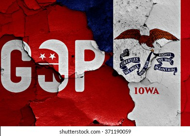flag of GOP and Iowa painted on cracked wall