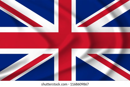 The flag of Great Britain waving from the wind, proudly waving in the wind