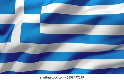 Flag of Greece blowing in the wind. Full page Greek flying flag. 3D illustration.