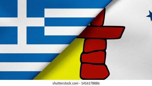 Flag of Greece and Nunavut