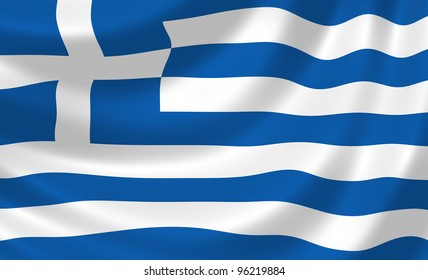 Flag of Greece waving in the wind detail