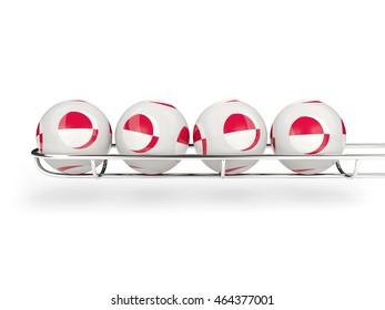 Flag of greenland on lottery balls. 3D illustration