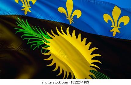 Flag of Guadeloupe. 3D Waving flag design. The national symbol of Guadeloupe, 3D rendering. National colors of Guadeloupe 3D Waving sign background design.Caribbean 3D ribbon, wallpaper, pattern