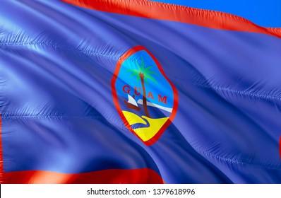 Flag of Guam. 3D Waving flag design. Emblem of Guam and Hagatna, 3D rendering. National colors of Guam 3D Waving USA state flags background concept. 3D ribbon, HD wallpaper