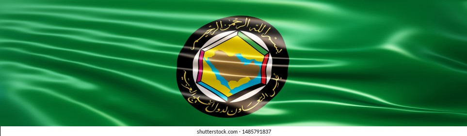 Flag of the Gulf Cooperation Council (Cooperation Council for the Arab States of the Gulf or GCC). 3D Illustration rendered in large wide format