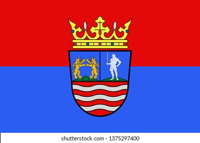 Flag of Gyor-Moson-Sopron is an administrative county in north-western Hungary. 3d illustration