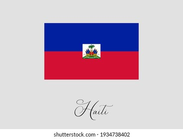 Flag of Haiti and handwritten name of the country.