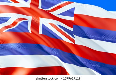 Flag of Hawaii. 3D Waving flag design. Emblem of Hawaii and Honolulu, 3D rendering. National colors of Hawaii 3D Waving USA state flags background concept. 3D ribbon, HD wallpaper