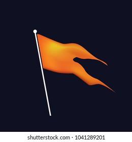 Flag. Hindu orange waving flag.