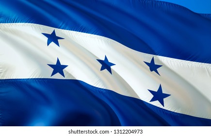 Flag of Honduras. 3D Waving flag design. The national symbol of Honduras, 3D rendering. National colors of Honduras 3D Waving sign background design.South America 3D ribbon, wallpaper, background