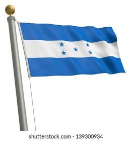 The flag of Honduras fluttering on flagpole