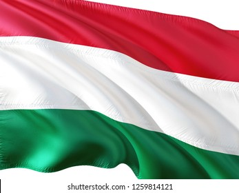 Flag of Hungary waving in the wind, isolated white background. 3D rendering fabric.