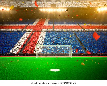 Flag Iceland of fans! Evening stadium arena soccer field championship win! Confetti and tinsel