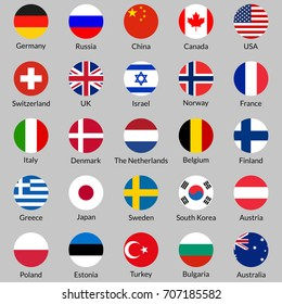 Flag icon set. Round or circle flags of USA, UK, Holland, Germany, Italy, Canada, France, Russia, China, Finland, Norway, Sweden, Australia,  Israel, Japan, Switzerland, Korea.