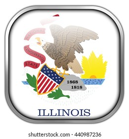 Flag of Illinois State, square glossy button