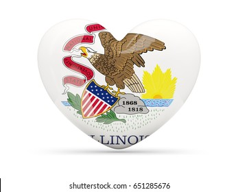 Flag of illinois, US state heart icon isolated on white. 3D illustration