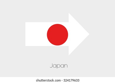 A Flag Illustration inside an arrow of the country of Japan