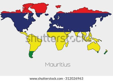 Flag Illustration Inside Shape World Map Stock Illustration