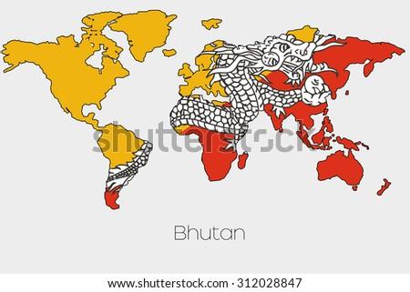 World Map Bhutan.Royalty Free Stock Illustration Of Flag Illustration Inside Shape