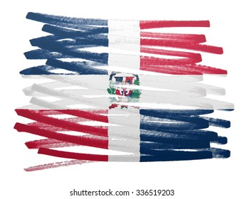 Flag illustration made with pen - Dominican Republic