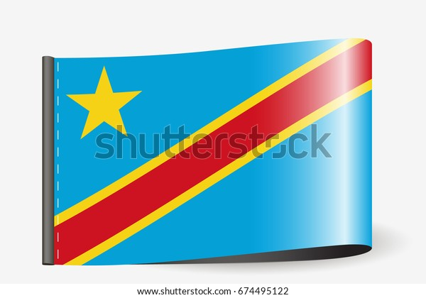 A Flag Illustration on a textile label for the country of  Democratic Republic of Congo
