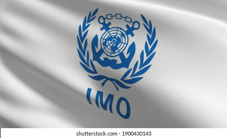 Flag of IMO or International Maritime Organization. 3D rendering illustration of waving sign symbol.