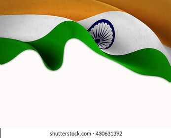 Flag of India waving on a white background