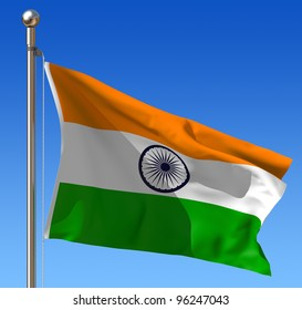 Flag of India waving in the wind against blue sky. Three dimensional rendering illustration.