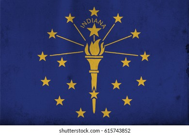 Flag of Indiana, United States of America, with an old, vintage style